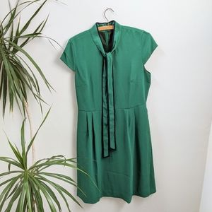 J. Crew Green Tie-Neck Dress